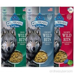 Blue Buffalo Wilderness Trail Treats Grain-Free Wild Bits Dog Treats - 3 Flavors (Salmon Chicken Duck) - 4 Ounces Each (3 Total Pouches) - B00TGJBZO6