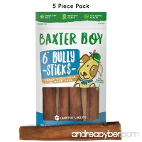 """Baxter Boy 6-inch Premium Grade Bully Sticks Dog Treats [EXTRA-THICK]  (5 Pack) – 6"""" Long All Natural Gourmet Dog Treat Chews – Fresh and Tasty Beef Flavor – 30% Longer Lasting - B07CP2W34B"""