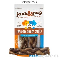 """Jack&Pup 7"""" Premium Grade Thick Braided Bully Sticks Dog Treats (2 Pack) – 7"""" Long All Natural Gourmet Dog Treat Chews – Fresh and Savory Beef Flavor – Long Lasting Treat - B078SF876P"""