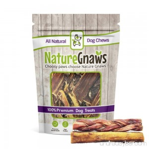 Nature Gnaws 100% Natural Bully Sticks - Combo Pack - (3) Braided & (3) Large Bully Sticks (6 total pieces) 5-6 inch - Oven-Baked Grass-Fed Free-Range Premium Beef Dog Chews - B078F9WCW7