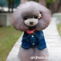 Little Pet Dog Coat Lotus.flower Cute Cowboy Style Dog Denim Jacket Puppy Clothes Warm Apparel - B075M9DNBF