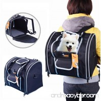 Paw Essentials Oxford Outdoor Dog Cat and Pet Travel Backpack Carrier with Mat for small dogs and pets up to 11 lbs (Black - 14 x 10 x 12.6 inches) - B072WF8VTZ