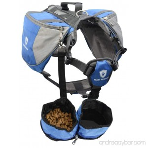 Ruff Armour Outdoor Dog Backpack Carrier Rucksack Saddlebag for Hiking Exercise Camping in Small Medium Large & Free Bowls Blue - B01LBSM6G0