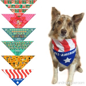6 pc Holiday Dog Bandana for Small Dogs - Set of 6 - Christmas Halloween Thanksgiving Valentine's Day St. Patricks Day Patriotic - B01MS4F183