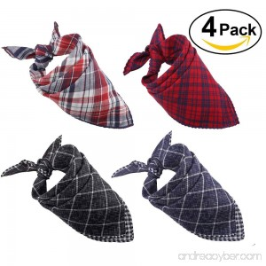Best Dog Bandana Scarf Pack for Pet 4 Pack Dog Kerchief Bandana Set Plaid Design Reversible Triangle Bibs for Small to Large Dog and Cat - B07BCCWTVX