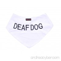 DEAF DOG White Dog Bandana quality personalised embroidered message neck scarf fashion accessory Prevents accidents by warning others of your dog in advance - B012VVC1DE
