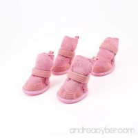 ETOPSTECH Pink Nonslip Sole Velcro Booties Pug Dog Chihuahua Shoes Boots 2 Pair XXS - B00EDKN29O