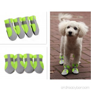 Hdwk&Hped Summer Dog Paw Protector Dog Booties Breathable Mesh Flexible Velcro Strap Anti-slip PU Sole Dog Walking Shoes Dog Boots for Small Dog Puppy Cat Green Sizes #40-#55 - B07DNM6CHY