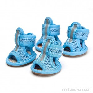 Topbeu 4Pcs Breathable Small Pet Dogs Puppy Summer Sandals Shoes Anti Skid Dog Shoes - B01MU2L3Q7
