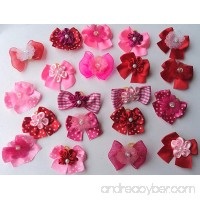 30 Valentine's Day Dog Hair Bows Collection -Hot Pink/Pink/Red with center decorated with flower - B00AFBBC4W