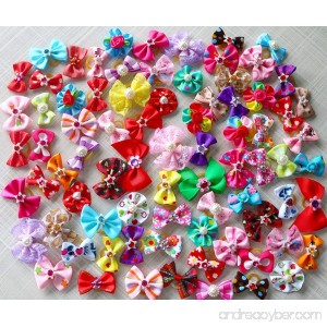 50pcs/pack Cute New Dog Hair Bows Pairs Rhinestone Pearls Flowers Topknot Mix Styles Dog Bows Pet Grooming Products Mix Colors Pet Hair Bows Topknot Rubber Bands - B00Z70L0AC