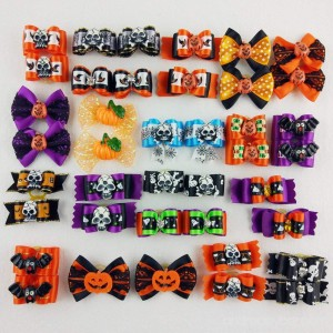 Hixixi 24pcs/12pairs Pet Dog Hair Bows Halloween Designs Puppy Grooming Bows Hair Accessories with Rubber Bands - B01JNPOHHO
