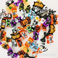 Hixixi 50pcs/pack Pet Dog Cat Halloween Hair Bows Rhinestone Puppy Grooming Bows Hair Accessories with Rubber Bands - B074Q9V411