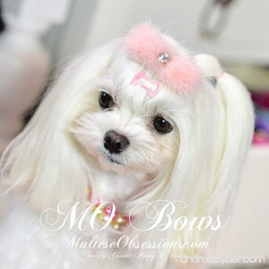 Light PINK Mink and Crystal Fur Hair Clip for Maltese Dog Puppy - Mink Fur and Crystal Rhinestone Hair Bling - - B078Z4Q6DC