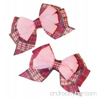 MuttNation Fueled by Miranda Lambert Pink Plaid Dog Bow Set for Dogs 2 Bows One Size Pink - B01KD7QQX4