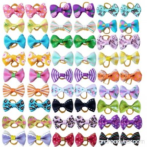PET SHOW Pet Dog Hair Bows Bowknot for Yorkshire Girls Topknot with Rubber Bands Cat Puppy Headdress Grooming Hair Accessories Random color Pack of 50pcs = 25pairs - B01L0WYGJ2