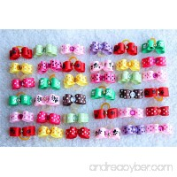 Yagopet 50pcs/pack Dog Puppy Hair Bows Rubber Bands Tinny Bows for Puppy Dogs Cute Pet Small Topknot Bows with Rhinestones Mix Colors Pet Dog Grooming Bows Dog Hair Accessories - B01551KJTA