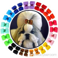 YOY 24PCS/12 Pairs Adorable Grosgrain Ribbon Pet Dog Hair Bows with Rubber Bands - Puppy Topknot Cat Kitty Doggy Grooming Hair Accessories Bow knots Headdress Flowers Set for Groomer - B07CJM9MYW