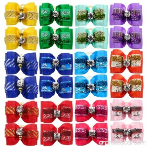 YOY 24PCS/12 Pairs Adorable Grosgrain Ribbon Pet Dog Hair Bows with Rubber Bands - Puppy Topknot Cat Kitty Doggy Grooming Hair Accessories Bow knots Headdress Flowers Set for Groomer - B07CJM56SR