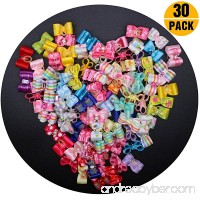 YOY 30 Pcs Adorable Grosgrain Ribbon Pet Dog Hair Bows with Elastics Ties - Stretchy Rubber Bands Doggy Kitty Topknot Grooming Accessories Set for Long Hair Puppy Cat - B076BW3W7D