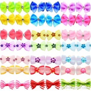 YOY 40pcs/20 Pairs Adorable Grosgrain Ribbon Pet Dog Hair Bows with Rubber Bands - Puppy Topknot Cat Kitty Doggy Grooming Hair Accessories Bow knots Headdress Flowers Set for Groomer - B07DYV3NZ6