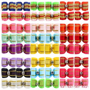 YOY 48PCS/24 Pairs Adorable Grosgrain Ribbon Pet Dog Hair Bows with Rubber Bands - Puppy Topknot Cat Kitty Doggy Grooming Hair Accessories Bow knots Headdress Flowers Set for Groomer - B07CJMH7G1