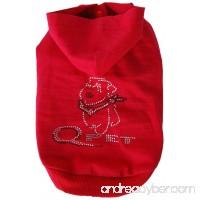 Anima Pet Hoodie with Rhinestone Q Pet Logo - Red - B0093Y3Z06