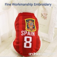 Antart Dog Clothes Football T-shirt Dogs Costume National Soccer World Cup FIFA Jersey for Pet Spain - B07C2VKDXM