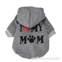 Small Dog Clothes Winter Wakeu Warm Soft I MY MOM Hooded T-Shirt Coats Dog Clothing for Chihuahua Girl Yorkies Boy - B077TT1K54