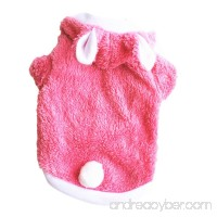 Teresamoon Puppy Cat Warm Hoodies Coat Rabbit Sweater for Small Dogs (L Pink) - B076DCWMH2