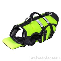 Pawaboo Dog Life Jacket Duarable Adjustable Soft Padded Reflective Neoprene Pet Life Saver Vest Coat Life Preserver with Handle on TOP for Dog or Cat Large Size Fluorescence Green and Black - B06XKZWB63