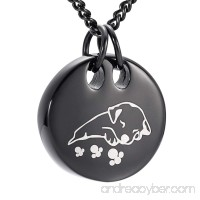 Cute Dog Engraved Round Pet Cremation Urn Necklace Ashes Keepsake Pendant Memorial Jewelry - B0773CTWGG