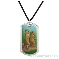 Graphics and More Pair of Prairie Dogs Military Dog Tag Pendant Necklace with Cord - B07CYK5QYN