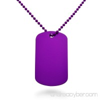 Made in USA Purple Color Aluminum Dog Tag Necklace 24 Inches - B008H5MW2E