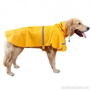 BOBIBI Adjustable Dog Raincoat Pet Puppy Lightweight Waterproof Raincoat Jacket Poncho with Strip Reflective - B01MXVXOZ9