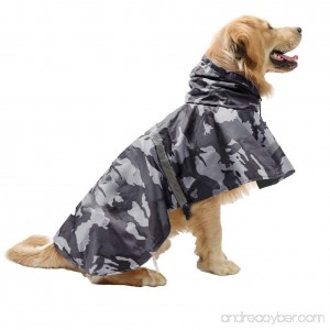maxgoods Pet Raincoat Leisure Waterproof Clothes Lightweight Camouflage Rain Jacket Poncho with Strip Reflective For Large Medium Dog (Gray XL) - B01N6EJXHZ