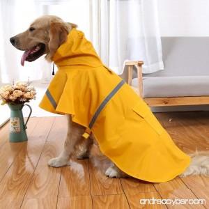 OCSOSO Pet Dog Slicker Raincoat Gear Brite Rain Jackets Dog Cat Hooded with Reflective Band - B00QYACK44