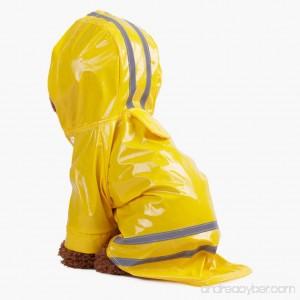 UEETEK Hooded Dog Raincoat Waterproof Reflective Dog Jacket Coat Yellow - B078YP9CPG