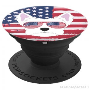 Proud Westie White Terrier Patriotic Dog Flag Sunglasses - PopSockets Grip and Stand for Phones and Tablets - B07FXSTC3X