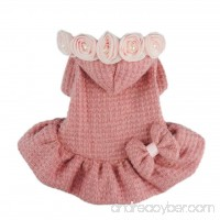 Fitwarm Adorable Bowknot Pink Dog Sweaters for Pet Hoodies Coats Dress Clothes - B00MAJHFCK