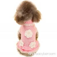 JoyTale Turtleneck Flower Studded Pet Dog Sweater Apparel  Pink Female Girl Dog Winter Clothes - B0776YMMBB