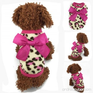 MD New Soft Warm Winter Red/Pink Bow-knot Leopard Dogs Pet Clothing Puppy Sweater - B018TL9S2M