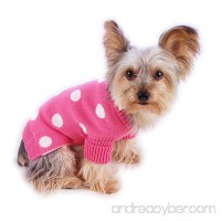 Stinky G French Pink Polka Dot Dog Pet Sweater with Rolled Neckline - B00EI7H1HG