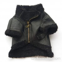 TAILUP Pet Dog Puppy Little Small Fashion Leather Zipper Jacket Coat Apparel Vest Top (M Black) - B073RY8V69