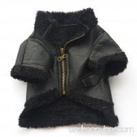 TAILUP Pet Dog Puppy Little Small Fashion Leather Zipper Jacket Coat Apparel Vest Top (M Black) - B073RY8V69
