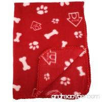 30x21 Inch Dog / Cat Fleece Blanket - Bone and Paw Print Assorted Color Pet Blankets by bogo Brands - B00TQ0TSG2