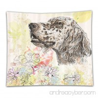 Beshowereb Fleece Throw Blanket Dog Cute English Setter Hand Drawn Furry Puppy Small Pet Cartoon Pattern Chrysanthemum Floral Backgrou - B075ZRGNL3