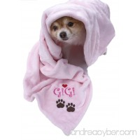Custom Name Embroidered Pink Paw Prints Pet Blanket - B01F1LKEZ8