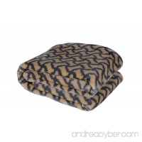 HappyCare Textiles 047393528940 Printed dog paw Flannel throw blanket Taupe - B072MH9RQV