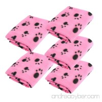 LUXMO 5pcs Pink Pet Dog Cat Puppy Kitten Soft Warm Blanket Mat Doggy with Paw Prints Cushion Lovely Design - B00Y018AU2